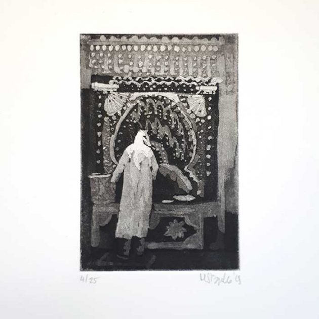 Michele-Stagnetto-aquatint-bythefountain-mount