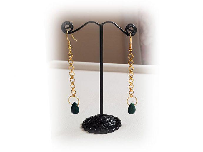 giselle-golt-green-ribboned-chainmail-earrings