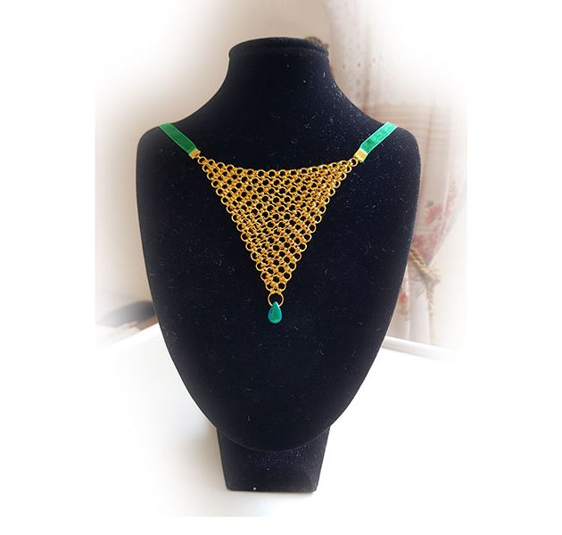 giselle-golt-green-ribboned-chainmail-necklace
