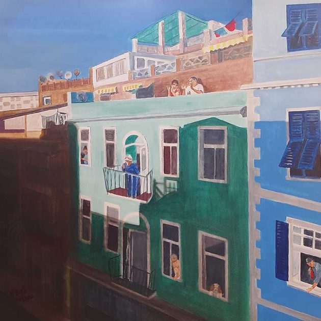 Acrylic on canvas of Governor's Street during Lockdown. 60 x 60 cm